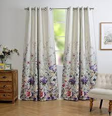 Purple Floral Curtains Mysky Home Floral Design Print Grommet Top Thermal