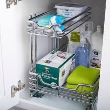 sink kitchen cabinet organizer chrome 2 tier sliding organizer