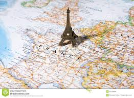 France On A Map by Statue Of Eiffel Tower On A Map Paris Most Romantic City Stock