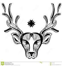christmas deer head doodle zentangle stock vector image 62417258