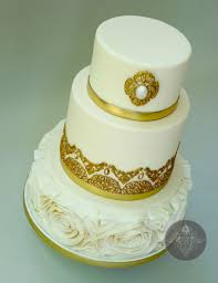golden wedding cakes golden wedding cake with floral ruffles cakecentral