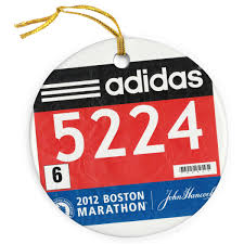 running porcelain ornament your race bib on a custom bib