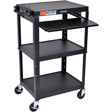 Mobile Computer Desk Luxor Steel Adjustable Height A V Cart With Pullout Keyboard Tray