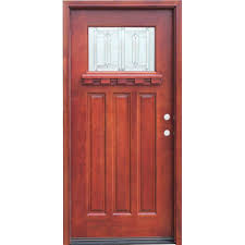 3 Panel Exterior Door Pacific Entries 36 In X 80 In Craftsman 1 Lite Stained Mahogany