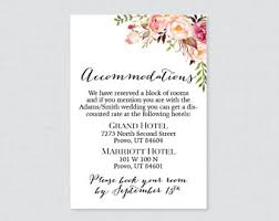 Wedding Inserts Details Accommodations Wedding Reception Card Insert