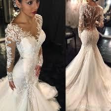 trumpet wedding dresses 2017 modest trumpet wedding dress sleeve sheer lace bridal