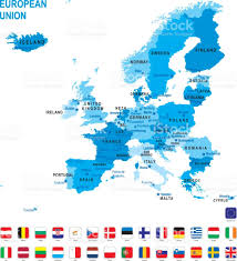 blue map of european union with flag against white background