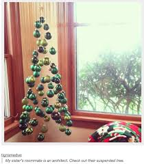 suspended tree made from green ornaments advanced