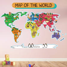 animal world map wall sticker world map wall decal kids bedroom