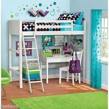 Desk With Bed Twin Bunk Loft Bed Over Desk With Ladder Kids Teen Bedroom White