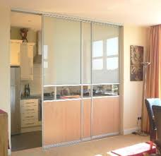 half frosted glass and brown wooden sliding door with aluminium f
