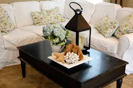Decorating Ideas For Coffee Table Fascinating Black Rectangle Country Wood Coffee Table Decorating