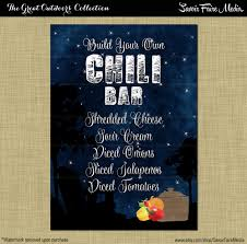 chili bar sign bonfire birthday backyard outside firepit