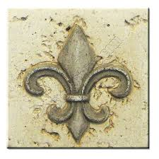 resin travertine faux 4 x 4 fleur de lis deco insert 4x4