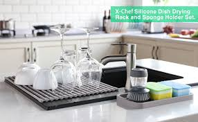 kitchen sink cabinet sponge holder x chef roll up dish drying rack and silicone sponge holder anti rust non slip silicone coated sink drying rack multipurpose light grey