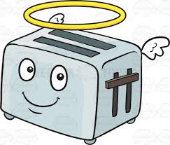gardening emoji angelic pop up toaster smiling with wings and halo emoji cartoon