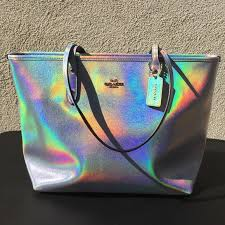 holographic bags coach silver hologram tote a small corner coach bags and big