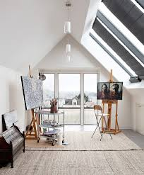 art studio space home office contemporary with easel metal