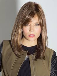 photo medium length brown hairstyles with side fringe shoulder