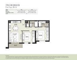 hayat boulevard by nshama 2 bedroom apartment type 2d 2 floor plan