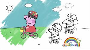 peppa pig bicycle coloring page coloring book for kids