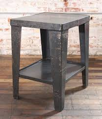 outdoor metal end tables vintage industrial rustic steel and metal end side table stand with