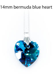 swarovski heart necklace blue images Sterling silver bermuda blue crystal heart necklace made with jpg