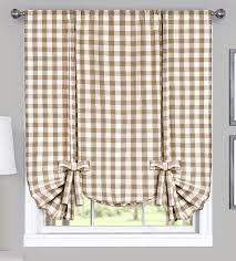 Tie Up Window Curtains Buffalo Check Tie Up Window Treatment U2013 Navy U2013 Achim Country