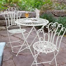 Metal Folding Bistro Chairs 3 Piece Folding Metal Outdoor Patio Furniture Bistro Set In Matte