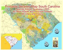 road map of south carolina south carolina state printable map us exact vector map