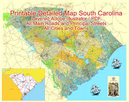 south carolina state printable map us exact vector map