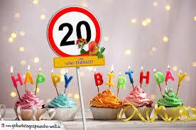 geburtstagssprüche 20 20 geburtstag geburtstagswünsche mit schild und alter auf karte