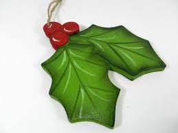 handpainted wooden holly cutout ornament by gleeza on etsy 7 00