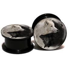 2pcs lot acrylic yin yang wolf ear and tunnel earth ear