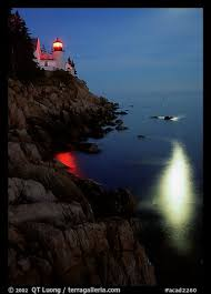 Lighthouse Light Picture Photo Bass Harbor Lighthouse By Night With Reflections Of