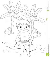 boy in the beach coloring page stock illustration image 51089139