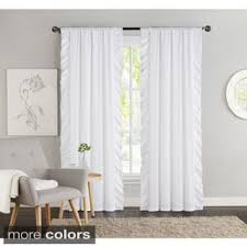 White Ruffle Curtain Panels Lush Decor Ruffle White 84 Inch Curtain Panel Free Shipping On