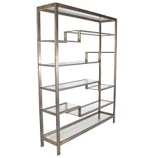 large scale modernist etagere or bookcase in bronze finish at