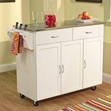 stainless steel portable kitchen island amazon com berkley modern large kitchen island storage cart with