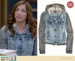 jean sweater jacket wornontv s denim hooded jacket with grey sleeves on