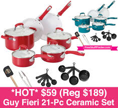 black friday pots and pans set 59 reg 189 guy fieri 21 piece ceramic cookware set free