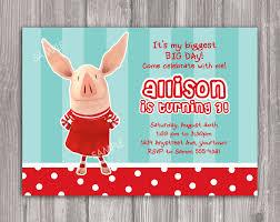 olivia the pig birthday invitation wonder and wishes