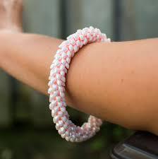 kumihimo seed beaded bracelet japanese bracelet light rose