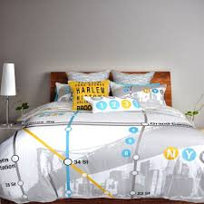 appealing bedroom with white modern graphic duvet cover feat