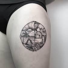 beach or mountain tattoo on thigh best tattoo ideas gallery