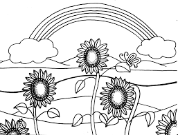 sunflower coloring pages with rainbow coloringstar