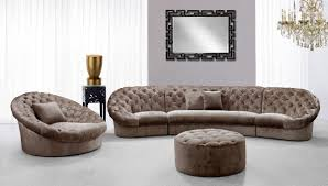 Tufted Sectionals Sofas by Luxury Brown Leather Sectional Sofa With Lounge Chairs And Ottoman