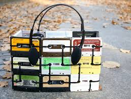 tote bag made from cassette tapes u0026 headphone handles upcycled