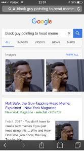 Pointing Meme - t 37 oo verizon 2237 a black guy pointing to head meme c google