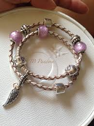 pandora silver leather bracelet images Champagne pandora leather bracelet with pink petit facets 791499 jpg